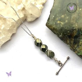 Pyrite Nugget Silver Bar Pendant Necklace